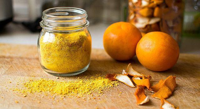 Polvo de cascara de naranja