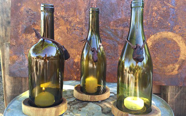 Lámparas de velas recicladas con botellas de vidrio de vino