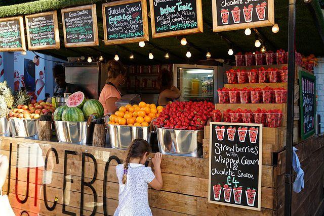 Puesto de venta de comida rapida organica