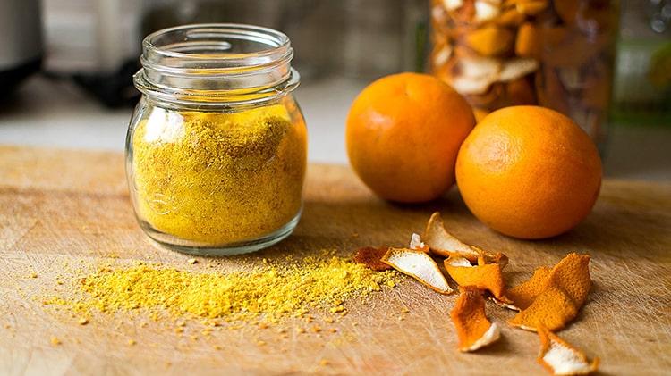 Polvo de cascaras de naranja