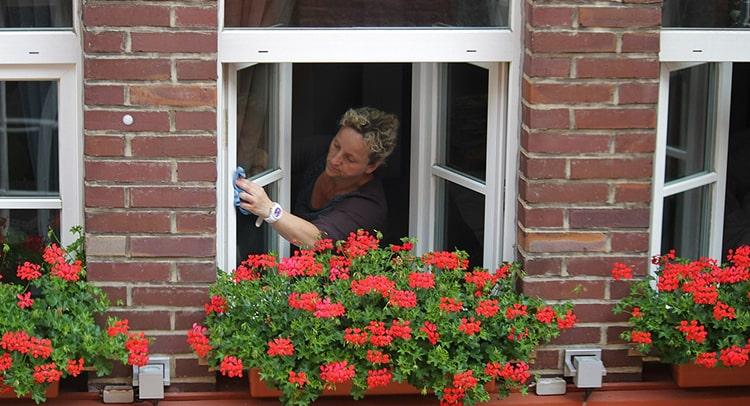 Mujer limpiando las ventanas con vinagre