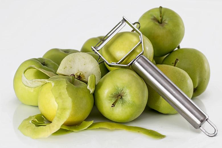 cáscara de manzana verde