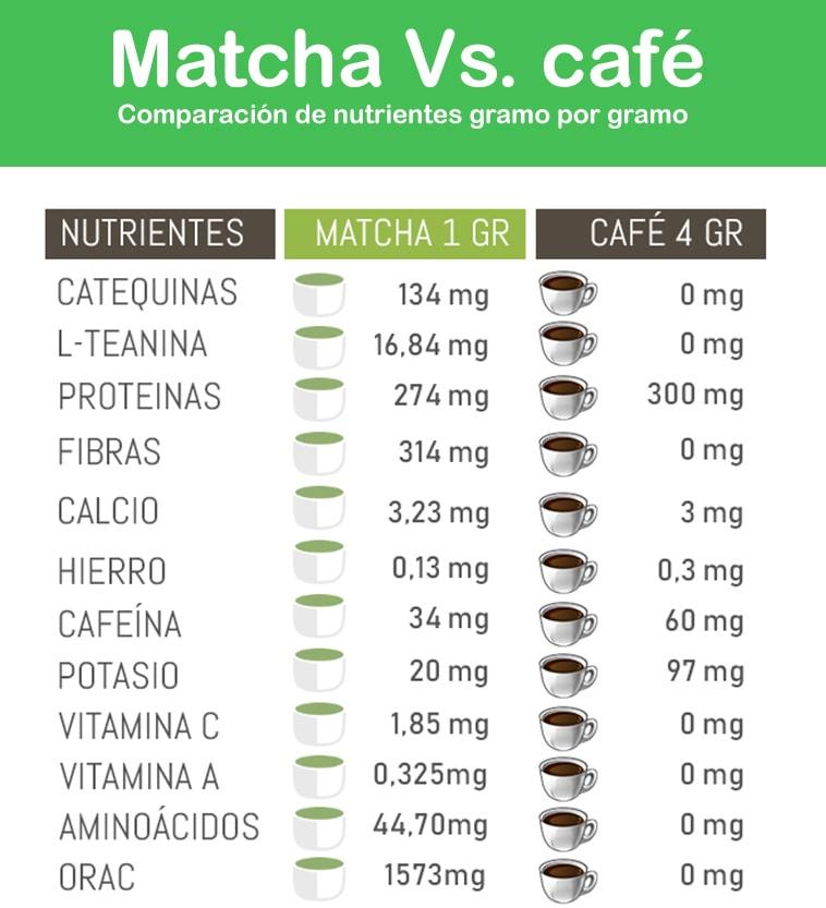 Comparación té matcha vs café gramo por gramo